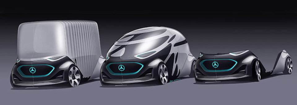 Mercedes-Benz unveils modular self-driving vehicles for people or cargo